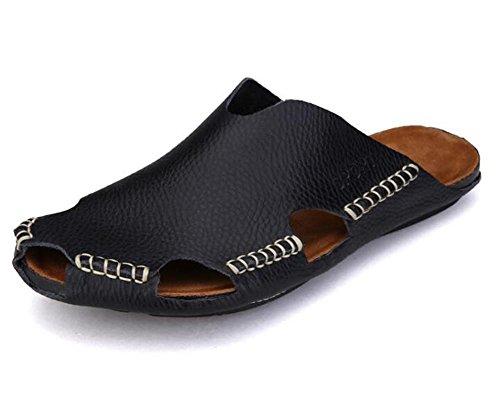 Donna uomo scarpe cuoio genuino unisex adulti sandali spiaggia estate punta chiusa pull on slipper scivoli traspiranti antiscivolo infradito multicolor taglia 35 - 43 , black , eu38