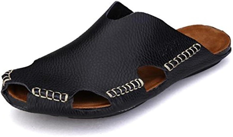 NSLXIE Femmes Hommes Chaussures en Cuir Véritable Unisexe Adultes  Toe s Plage Été Fermé Toe  Tirer sur Chausson...B07H3134Q7Parent e2a41f