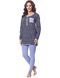 Be Mammy Damen Langarm Pyjama mit Stillfunktion BE20-178