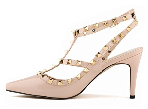 Minetom Damen Wies High Heels Niet Spleiß Gürtelschnalle Stöckelschuhen Die Füße Schuhe Pumps Partei Frühjahr Sommer Herbst Mode Aprikose
