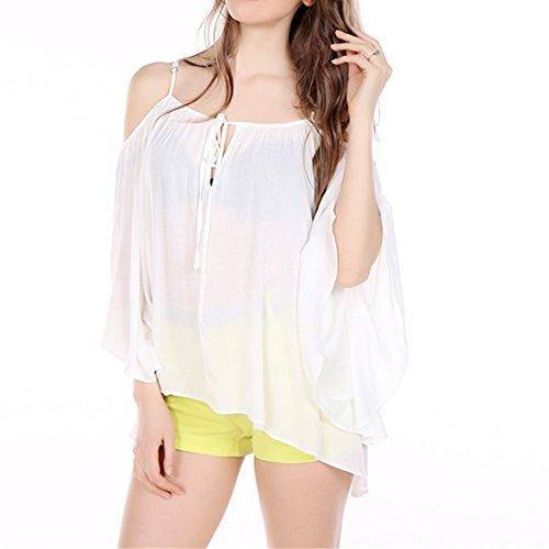 Sommerfrauen Weg Von Der Schulter WeissEn Langarm Verstellbaren Schultergurt Shirt Spitzen Weiß