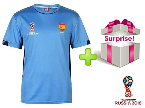 Fifa 2018 Brand new&OFFICIAL FIFA WORLD CUP FOOTBALL 2018 Training Jersey SPAIN/BLUE in polyester + ONE SURPRISE GIFT (EXCLUSIVE) [several sizes available]