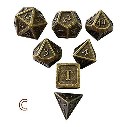 Set dadi da gioco poliedrico 7pcs, gioco in lega di zinco solido in metallo d&d gioco di ruolo dadi in metallo argentato, per gioco, dungeon e draghi, giochi di ruolo, insegnamento della matematica