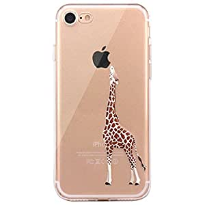 JIAXIUFEN TPU Gel Silicone Protettivo Skin Custodia Protettiva Shell Case Cover Per Apple iPhone 7 - Divertente Capriccioso Design Giraffe eating Apple