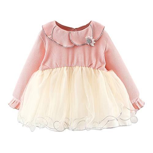 INLLADDY Kinderkleidung Baby Mädchen Kleid Langarmshirt Einfarbig Streifen Drucken Patchwork Gaze Prinzessin Babykleidung Ausstattung Pullover Hochzeit Geburtstag Party Rosa 90