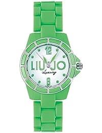 Liu-Jo Montre Femme en Acier et Plastique Vert, forme Rond, ligne Fluo, le poids 35 grammes