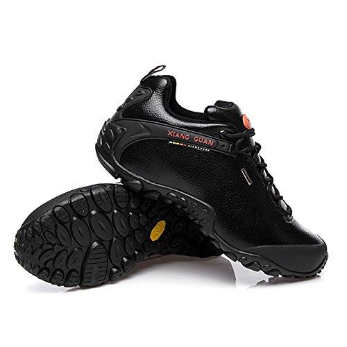Xiang Guan Damen Low-top Lace-up Leder Wasserdicht Outdoorschuhe Sport Camping Wandern Walking Trekking Schuhe Schwarz