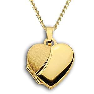 Herz Medaillon verziert matt mattiert hochglanz 333 Gold Muttertag Valentinstag Verlobung Liebe Schmuck Amulett Verzierung teilmattiert. Von Haus der Herzen®