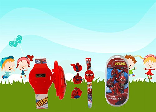 Cute Cartoon Character Design Digital Wrist Watch with 3 additional Change Top Screen Design/Bâ??day gift to your little kids.