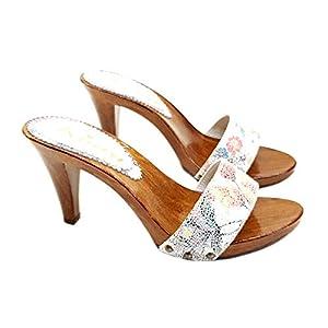 Clogs für Damen Obermaterial aus verziertem Leder – K6103-PICASSO BIANCO