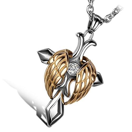 Kreuz Frauen Gold Halskette (cupimatch Herren Frauen Silber Gold Ton Edelstahl Religiöse Engel Flügel Kreuz Anhänger Halskette, 55 cm Kette)