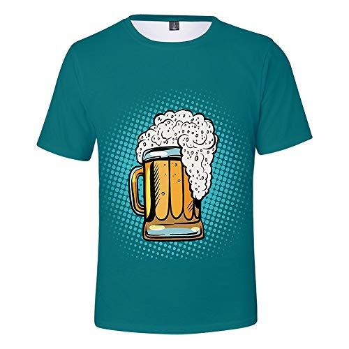 Alpaka T-Shirt Herren 3D Bier Druck T-Shirt Print Unisex Oberteile Rundhals Kurzarm Shirt Basic Hemd Casual Sommer Muskelshirt Kurze Ärmel Grafik T-Stücke Männer Slim Fit Spaß Motiv Tops -