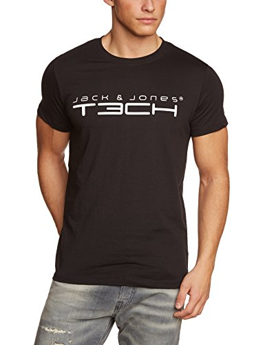 Jack & Jones Tech Herren T-shirt JJT Foam New Tee Short Sleeves Crew Neck Noos, Schwarz(Black), XXL, 12091568 (T-shirt 2x Xxl)