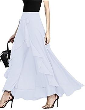ShallGood Mujer Casual Pantalones Verano Moda Elegantes Cintura Alta Color Sólido Volantes Pierna Ancha Largos...