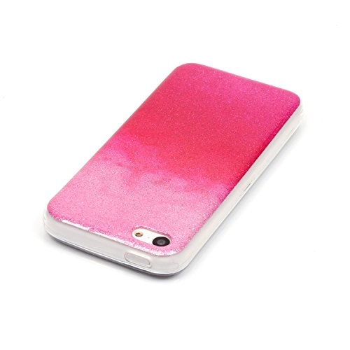 TPU Luxus Glitzer Case Cover iPhone 5C Hülle mit Kratzfeste Stoßdämpfende Strass Shining Sparkle Schutzhülle Ultra Thin Light Kristall Schutz Matt Schale Bumper für Apple iPhone 5C +Staubstecker (3RR) 10