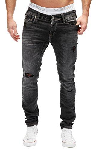 MERISH Hombres Vaqueros Pantalones Destruido no Parcheado Regular Fit Moderno y Casual Modell J2048 Negro W31