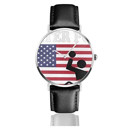 Amerikanische Flagge Wasserball schwarz quarzwerk Edelstahl Lederband Uhren Casual Fashion armbanduhren