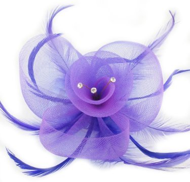 Elegant purple net flower with feathers fascinator / corsage on beak style clip and brooch pin. Ideal for weddings, ladies day, Ascot or any other special occasion.