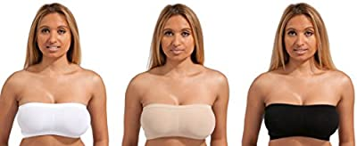 3 PACK (ALL COLOURS) - Marielle STRAPLESS Tube Top BANDEAU Padding or Unpadded Option Bra Seamless Stretch Sexy ALL COLOURS SIZES Small - XXXL