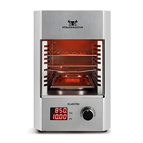 Klarstein Steakreaktor 2.0 Edelstahl-Edition Hochleistungsgrill Elektrogrill Made in Germany (850 °C, Keramik-Heizelemente, gekühltes Gehäuse, LED-Display, Abschaltautomatik) silber