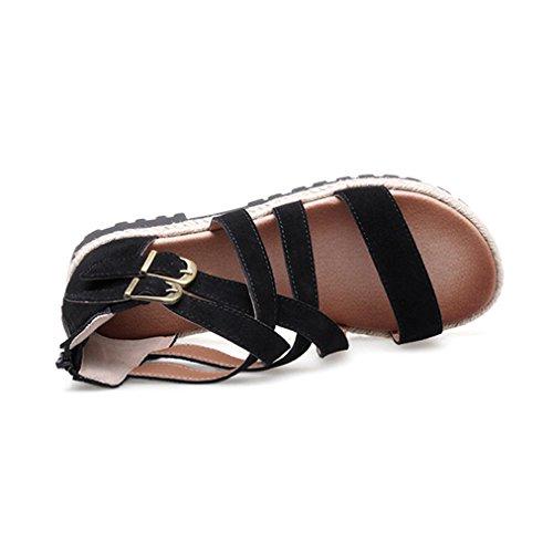 Damen Sandalen Rundzehen Reißverschluss Nubukleder Anti-Rutsche Tragen Riemchen Gekreuzten Römische Stil Modern Schuhe Schwarz