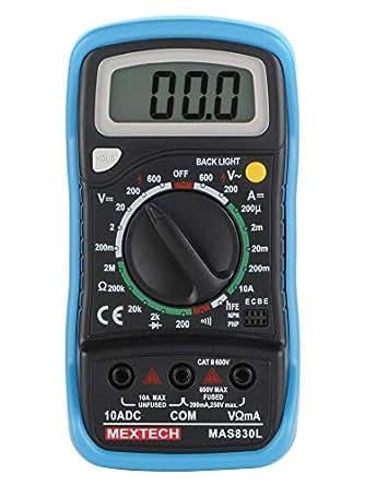 Mextech MAS830L 3 Digit, 1999 Counts, 600 AC/DC Voltage Digital Multimeter