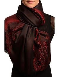 Dark Red Woven Lace On Black Pashmina Feel - Black Pashmina Designer Scarf