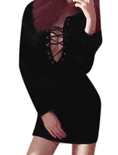 sourcingmap Femme Lacet Front Slim Fit Mini Robe Noir