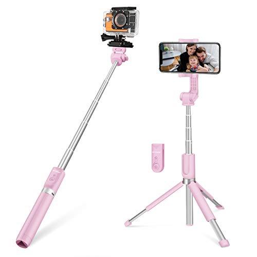 Bluetooth Selfie Stick, BlitzWolf 5 in 1 81.5cm Erweiterbarer Selfie Stang Stab mit Bluetooth-Fernauslöse und Stativ für Kameras, Gopro, iPhone, Android (Erweiterte Version-Rosa)