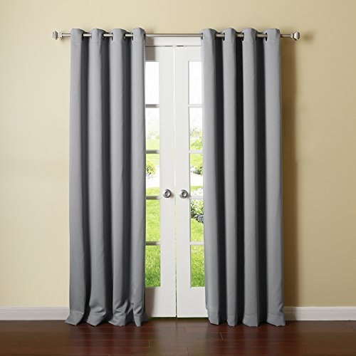 Best Home Fashion Thermal Insulated Blackout Curtains - Antique Bronze Grommet Top - Grey - 52W x 96L - No tie backs (Set of 2 Panels) by Best Home Fashion