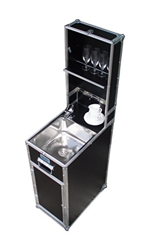 """mobile Küche \""""MobyKitchen piccolo\"""", mobile Wasserversorgung, mobiles Handwaschbecken im Flightcase, Gartenküche"""