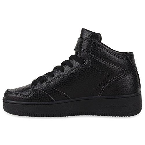 Damen Herren Cultz Basketballschuhe Sportschuhe Sneakers Schwarz Brooklyn