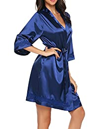 UNibelle Damen Kimono Morgenmantel Bademantel Kurz Schlafanzug Nachtwäsche Satin Blumenspitze mit Gürtel