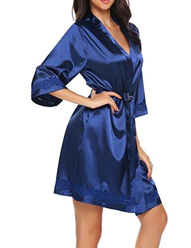 Unibelle Damen Kimono Morgenmantel Bademantel Kurz Schlafanzug Nachtwäsche Satin Blumenspitze mit Gürtel (Damen Robe Kimono)