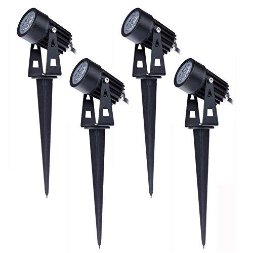 Mini Faretti a LED da Giardino Esterno con Picchetti IP65 3W 220V Bianco Caldo(set da 4)