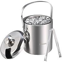 Homdox Eiseimer mit Zange und Deckel Eisbehältersektkühler Edelstahl Doppelwandiger 1.2 Liter