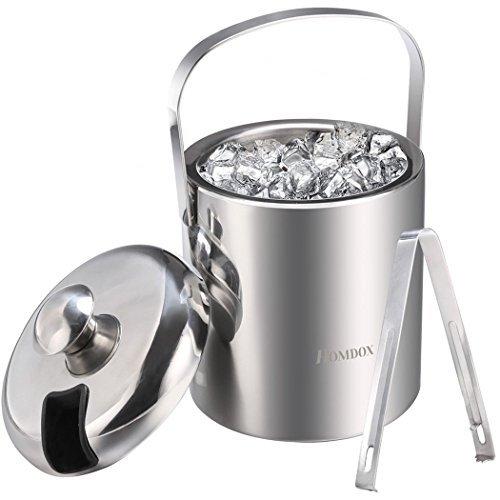 Eiseimer Eisbehälter sektkühler eiswürfelbehälter mit Zange und Deckel Edelstahl Weinkühle eiskübel eiskühler Doppelwand-Isolierung für besonders lange Kühlung 1.2 L (Silber 2) - 1h-bar
