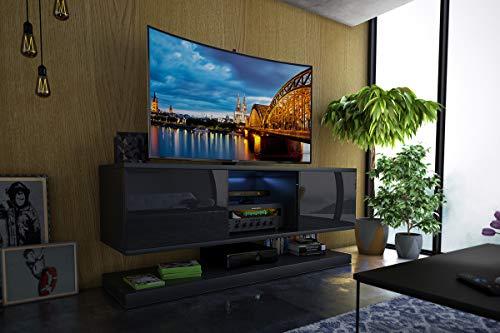 Selsey Wizz - Meuble TV Moderne Noir avec LED, 140 cm