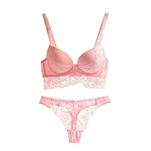 #Vertvie Damen Dessous Sets BH Set V Push Up Spitze Bügel 3 Haken BH Bra und Slip Unterwäsche Lingerie Panty String (80C, Rosa)#