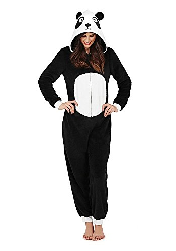 Continental Damen Jumpsuit Overall Tiere Gesichter Öhrchen 3D Kapuze Panda 3D All in One 79665/79765 L