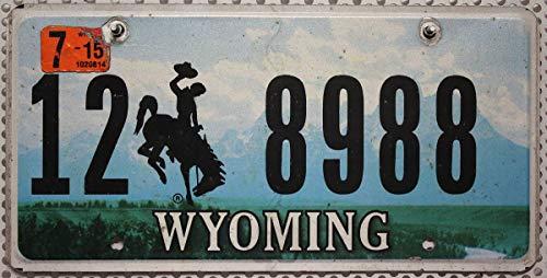 USA Nummernschild WYOMING ~ US Kennzeichen Motiv Cowboy Rodeo Landschaft ~ Blechschild -