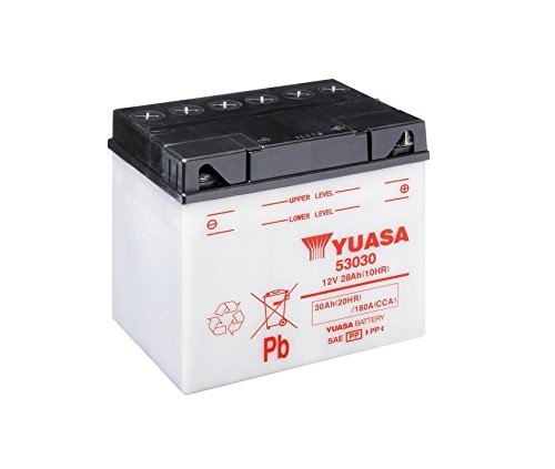 Batteria YUASA 53030, 12V/30ah (dimensioni: 186X 130X 171) per moto guzzi V35Imola II 350anno di costruzione 1984