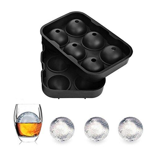 AZX Eiskugelform Silikon 6 EIS Ball Tray 7 * 4,9 Zoll EIS Runden Maker Perfekt für Cocktail Whisky und Süßigkeiten Pudding Schokolade (Schwarz) (Whisky-eis-maker)