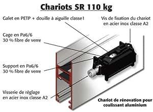 La croisee ds - Paire de chariot de renovation pour chassis coulissant aluminium-modele simple sr 4534 -