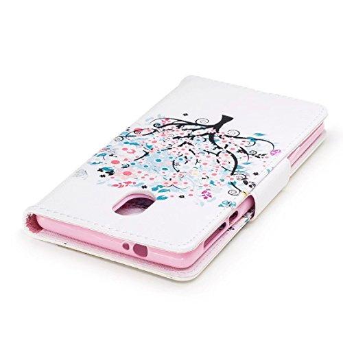 LEMORRY Nokia 3 Hülle Tasche Ledertasche Flip Beutel Haut Slim Bumper Schutz Magnetisch Soft SchutzHülle Weich Silikon Cover Handhülle Schale für Nokia 3, Kunstbaum - 5