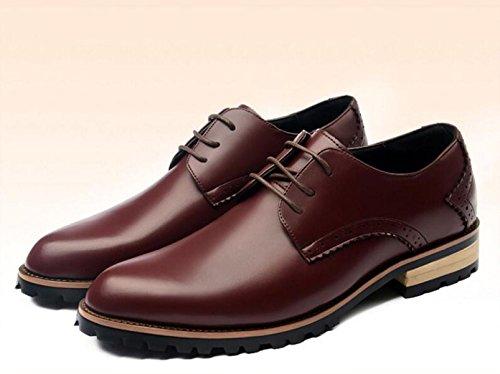 GRRONG Chaussures En Cuir Pour Hommes D'affaires Loisirs Pointu Jaune Rouge Bleu Noir red