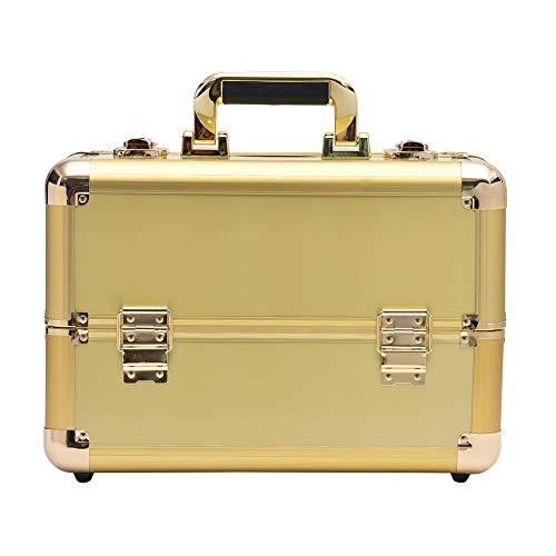 HUATINGRHBO Professionelle Make-up-Veranstalter, Nagellack Schmuck Kosmetik-Box Beauty Vanity Case Extra großen Raum, Gold (Nagellack Case Handy)