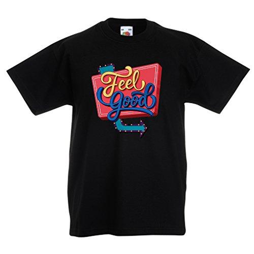 Kinder T-Shirt Ich fühle Mich gut ! - Inspirierende Kleidung, Zitate über das Leben (9-11 Years Schwarz Mehrfarben)