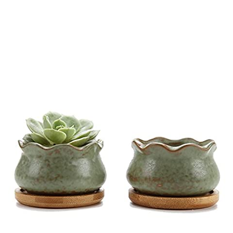 Rachel's 7.5CM Spring Serial NO.4 Flower Shape Sucuulent Cactus Plant Pots Flower Pots Planters Containers Window Boxes With Bamboo Tray Green Set of