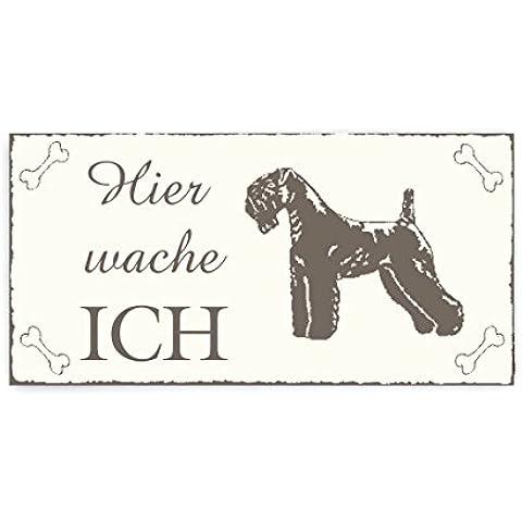 Targa per porta targhetta decorativa « Qui mi guardia–Kerry Blue Terrier » cane Targa in legno Targa vintage animale domestico caccia cane cane da guardia